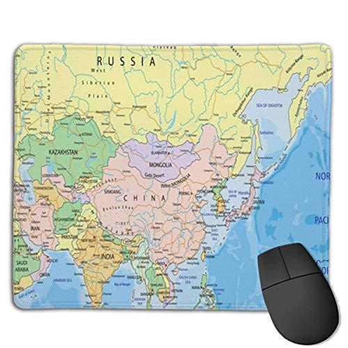 India Asia Continente Mapa político Rusia Atlas Eau Alfombrilla de ratón Alfombrilla de ratón Linda Alfombrilla de Goma con Borde Cosido Alfombrilla de ratón Impermeable para Oficina