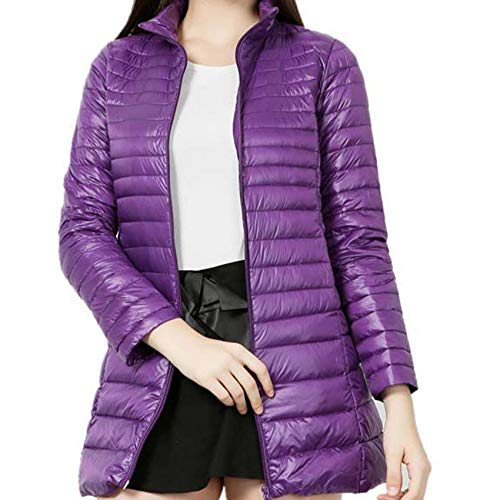 Winter Wear Mid-Length Lightweight Down Jacket Women Stand-Up Collar Slim 7xl Plus Size 200 Kg Purple