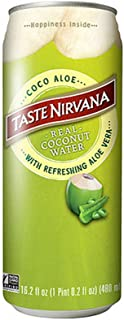 Taste Nirvana Real Coconut Water, Coco Aloe with Refreshing Aloe Vera, 16.2 Fl Oz Cans (12 Count)
