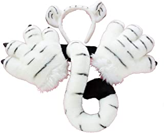 3 Pcs Cosplay Costume Set - Plush Tiger Leopard Cat Ears Headband Tail Pretend Play Toys for Kids Adults Party