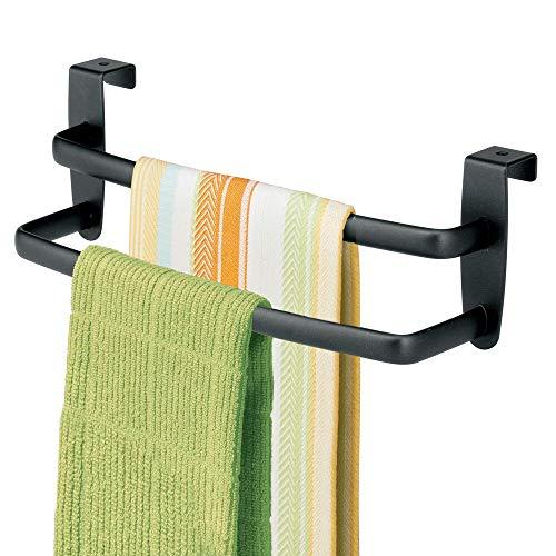 mDesign Geschirrtuchhalter Küchenschrank - Länge: 25 cm, Farbe: Mattschwarz - Geschirrhandtuchhalter - Handtuchhalter Küche