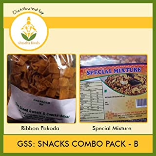 GSS Snacks Combo B (Contains 2 Items) Grand Sweets & Snacks Special Mixture 250g -1 Pkt & Grand Sweets & Snacks Ribbon Pakoda 250g -1 Pkt (B-P)
