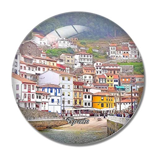 'N/A' España Imán España Cudillero Asturias España Imán de Nevera 3D Artesanía Recuerdo Cristal Refrigerador Imanes Colección Regalo de Viaje