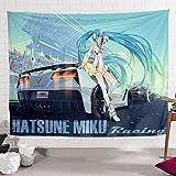 JUZSCSYPCQ Hatsune Miku Anime Tapiz Dibujos Animados Tapiz Dormitorio Sala De Estar Dormitorio Mesita De Noche Tela De Fondo Decoración Arte 32 Los 100X150Cm