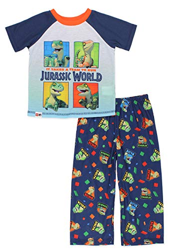 Lego Jurassic World Dinosaur Toddler Short Sleeve 2 piece Pajamas Set (5T, Navy)