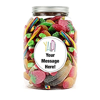 personalised sweet jar gift with your message - fizzy, tangy and sour pic'n'mix. a great idea for any occasion, birthdays, anniversary, christmas for him, her, a boy or girl, a friend. (pink, small) Personalised Sweet jar Gift with Your Message – Fizzy, Tangy and Sour pic'n'Mix. Ideal for Birthdays, Anniversary… 511p8EhtLxL