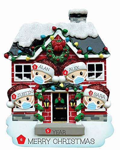 Ornament Station 2020 House of Family Personalized Christmas Tree Ornament Customized Couple Family Decoration - Free Personalization (Family of 4)
