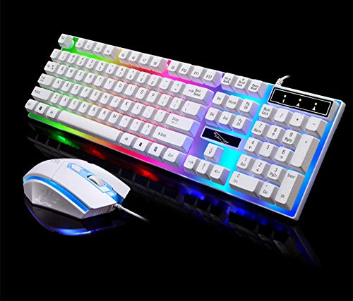 Gaming Mouse Bedraad, Chroma RGB Backlit, DPI Verstelbare, Comfortabele Grip Ergonomische Optical PC Computer Gaming Muizen, (Opgewaardeerde Versie) (Verzend toetsenbord), Wit