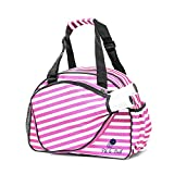 Pik'le'Ball Women's Premium Pickleball Bag. The Original Pickleball Tote. Water Bottle Holder, Racquet/Paddle Case, Fits More Than 2 Paddles. Athletic Bag, Sling Bag, Pink/Blue (Pink Stripes)