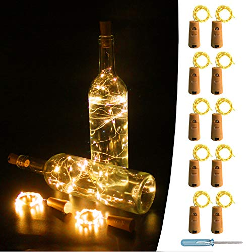 UNIQLED 10 Packs 20 LED Wine Bottle Cork Starry String Lights Battery Operated Fairy Night Wire Lights for DIY Wedding Decor Party Christmas Holiday Decoration (Warm White)