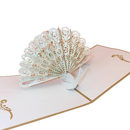 Milopon Grußkarte Pop Up 3D Pfau Karte blanko für Geburtstagsgrüße Geburtstagskarte Glückwunschkarte Einladungskarte Oder Ausgefallene Hochzeitskarte mit Umschlag (Weiß)