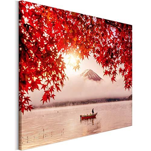 Revolio 70x50 cm Leinwandbild Wandbilder Wohnzimmer Modern Kunstdruck Design Wanddekoration Deko Bild auf Leinwand Bilder 1 Teilig - Mount Fuji Baum rot weiß