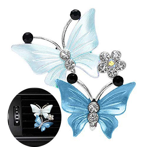 Car Aromatherapy Vent Clips,Lovely Dual Butterfly Car Air Outlet Freshener Perfume Clip Aroma Diffuser Decor - Lake Blue