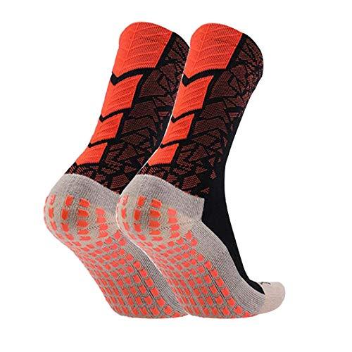 Manbozix Calcetines de Los Hombres Calcetines de Fútbol Calcetines Deportivos Antideslizantes Calcetines Transpirables Calcetines de Entrenamiento para Adultos 38-44, Naranja Negro