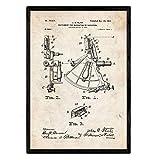 Nacnic Poster con patente de Instrumento de navegacion 1. Lámina con diseño de patente antigua en tamaño A3 y con fondo vintage