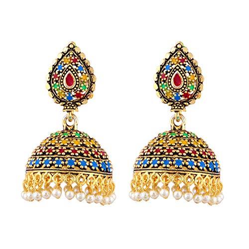 Pendientes largos de estilo indio de Bollywood, estilo étnico tradicional para fiestas de moda grandes redondos chapados en oro