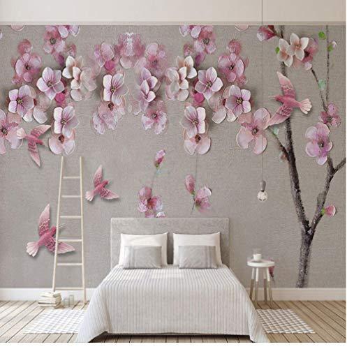Fotobehang 3D Stereo Relief Perzik Bloesem Bloemen Mural Woonkamer Slaapkamer Chinese Stijl Achtergrond Muur Schilderen Huisdecoratie Canvas Mural 120x100cm