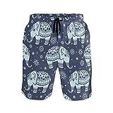 BONIPE - Bañador para hombre, diseño étnico de mandala elefantes, de secado rápido, con cordón y bolsillos Multicolor multicolor M