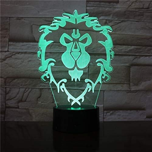 Led Nachtlichter 3D, Wow Model Lion 3D Illusion Nachtlicht Led Bunte Blitz Touch Light Schreibtisch Lampe Spiel Figur Spielzeug