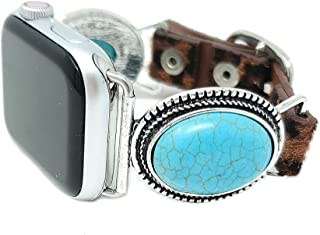 Emulily Compatible with Apple Watch Leopard Band 38/40mm Western TQ Concho Boho