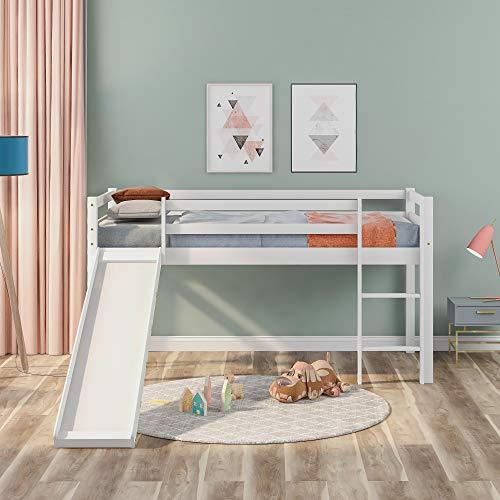 Children's Loft Bed Frame, with Adjustable Slide & Ladder, Wooden Bed Frame with Guard Rails, Bedroom Furniture Pinewood, 190x90 cm