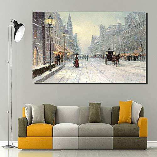 QWESFX Paris Avenue Schneeszene HD-Druck Kunst Leinwand Paris City Nacht Landschaft Wandmalereien Kein Rahmen Weihnachtsnacht Szene Wohnkultur (Drucken Kein Rahmen) C 50x70CM