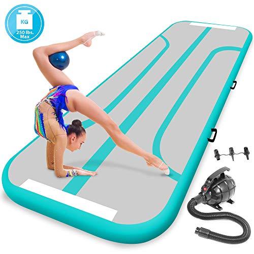 SereneLife Gymnastics Inflatable Air Tumbling Mat - 9.8Ft Outdoor/Home Indoor Gymnastics Mat Air Track Tumbling Mat - Floor Tumble Track Mats for Gymnastics, Yoga, Cheerleading SLGM3A (Aquamarine)