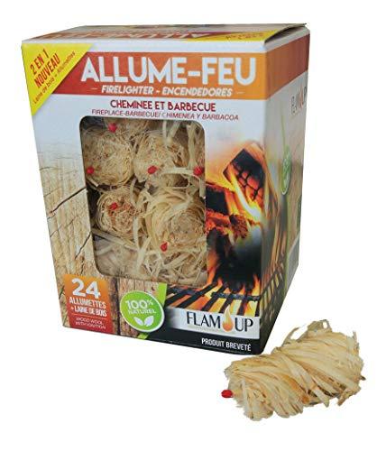 FLAMUP Allume-Feux Laine de Bois et Allumette x 24