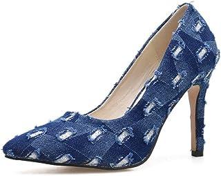 [ムリョシューズ] 大きいサイズ ハイヒール パンプス 痛くない 脱げない 青 ブルー 靴 レディース ポインテッドトゥ 結婚式 パンプス ピンヒール ヒール10cm 10センチ ヒール デニム ドレス カジュアル オフィス 通勤用 仕事
