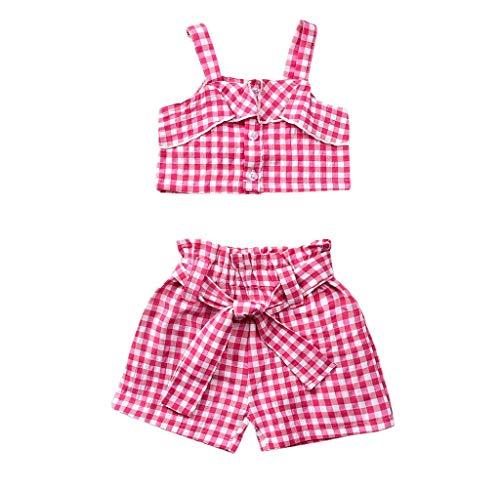 Jimmackey- Bambina Estate Abiti Neonata Bambino Camicia con Cinturino Plaid Vestiti Maglietta+ Bow Set Pantaloni Maglietta Shorts 6 Mesi A 4 Anni