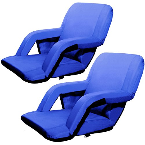 Victoria Young Portable Reclining Stadium Padded Seat, Set of 2, Blue