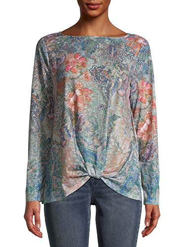 Time and Tru Women's Front Twist Sublimation Top with Long Sleeves Time and T...  via @amazon
