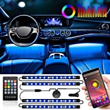 Interior Car Lights, SUNNEST Car LED Strip Lights with APP Control and Remote Control, 2 in 1 Design, 4pcs 48 LED, Waterproof Multi DIY Color Music Under Dash Car Lighting Kit with Car Charger, DC 12V