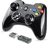 Controlador inalámbrico BZ 2.4G para PS3, PC Gamepads con botón de vibración Fuego Alcance de hasta 10 m Soporte PC (Negro)