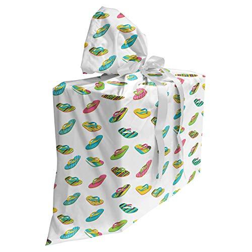 ABAKUHAUS Slipper Cadeautas voor Baby Shower Feestje, Thong Sandal Ontwerp, Herbruikbare Stoffen Tas met 3 Linten, 70 cm x 80 cm, Veelkleurig