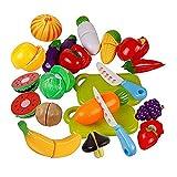 Letaowl Juguete de Cocina 6pcs Cocina plástico Fruta Vegetal alimento fingido Reutilizable rol Juego de Corte Juego Interactivo Juego