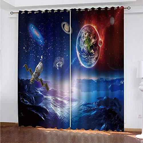YUNSW Planet 3D Digitaldruck Vorhänge, Garten Wohnzimmer Küche Schlafzimmer Verdunkelungsvorhänge, Lochvorhänge 2-teiliges Set