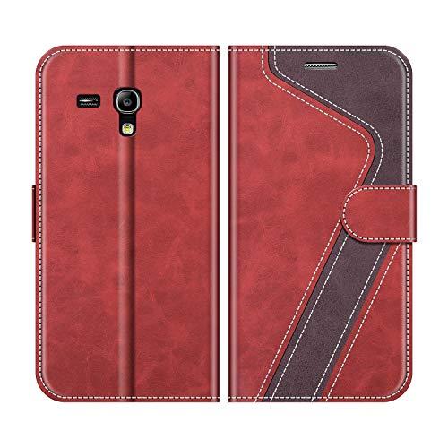 MOBESV Handyhülle für Samsung Galaxy S3 Mini Hülle Leder, Samsung Galaxy S3 Mini Klapphülle Handytasche Hülle für Samsung Galaxy S3 Mini Handy Hüllen, Rot