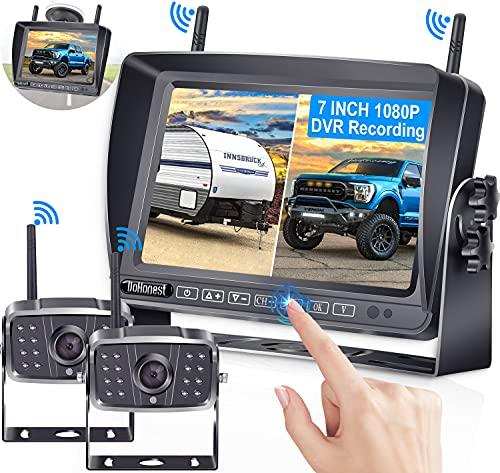 RV Backup Camera Wireless, DoHonest V23 HD 1080P 2 Rear View Cameras 7 Inch DVR Touch Key Monitor...