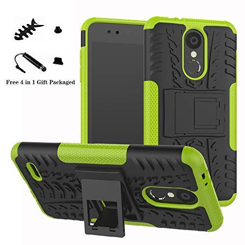 LiuShan LG K8 / K9 2018 Funda, Heavy Duty Silicona Híbrida Rugged Armor Soporte Cáscara de Cubierta Protectora de Doble Capa Caso para LG K8 / K9 2018 Smartphone,Verde