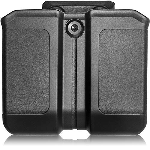 Universal Double Magazine Pouch with Belt Clip Magazine Holder fit 9mm .40 Double Stack Mag Holster Glock Magazine Holder for S&W Springfield Ruger Sig Beretta Taurus Walther CZ H&K Pistol Mag Pouch