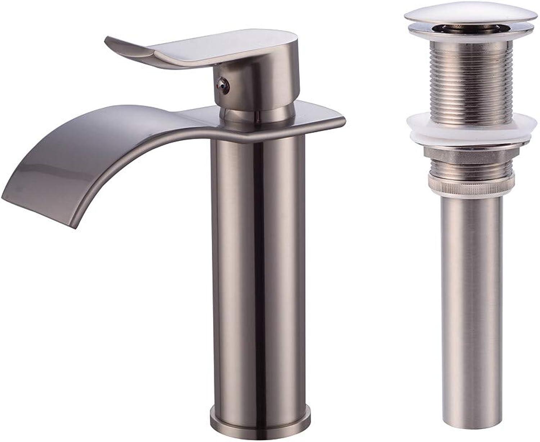 Fire wolf Wasserhahn:Moderne Mittellage Wasserfall Keramisches Ventil Einhand Ein Loch Gebürsteter Nickel, Wasserhahn-Set,1