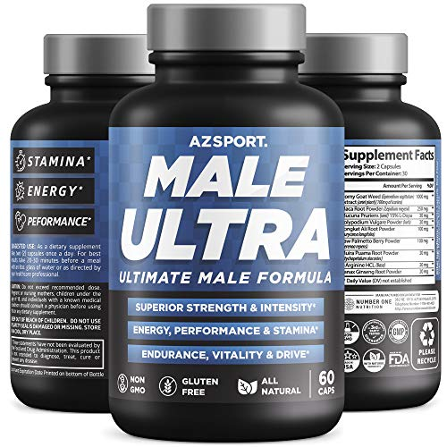 AZS Premium Male Ultra, [9 Potent Herbs] Ultimate Male Formula to Increase Size, Strength, Energy, Drive. All Natural Performance Supplement, 60 Veg Caps