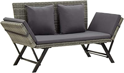 vidaXL Garden Bench with Cushions Outdoor Sunbed Furniture Support Living Space Seating Chair Sofa Chaise Lounges Grey Poly Rattan 176cm