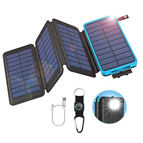 GOODaaa Solar Powerbank 25000mAh mit 4 Faltbar Solarpanels High Capacity Tragbares USB 5V 2A Solar Ladegerät Outdoor Notfall-Energie Externer Akku mit LED-Licht Kompass für Cellphones Tablet (Blau)