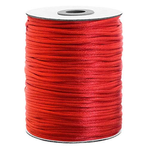 Satinkordel 100 Meter 2mm dick Große Spule Vielseitig einsetzbar Rot