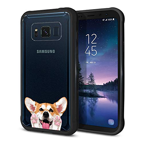 FINCIBO Case Compatible with Samsung Galaxy S8 Active G892A 5.8 inch, Slim TPU Bumper + Clear Hard Protective Case Cover for Galaxy S8 Active (NOT FIT S8/ S8 Plus) - Red Pembroke Welsh Corgi Dog
