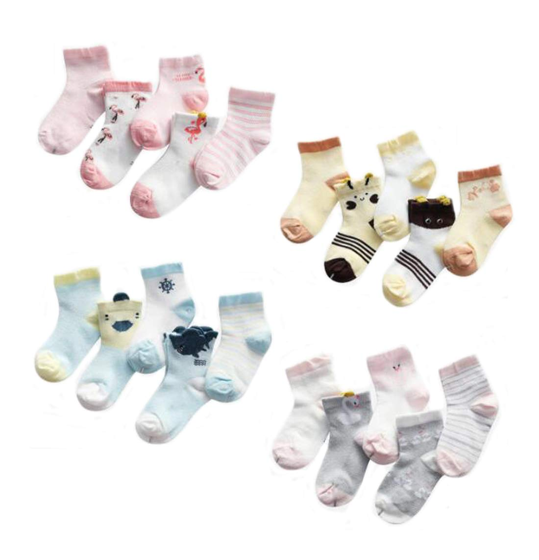 EWANDA STORE 5 Pairs Cartoon Cotton Socks Kids Baby Boys Girls Infant Toddler Socks,Little Bee,3-5 Years Old