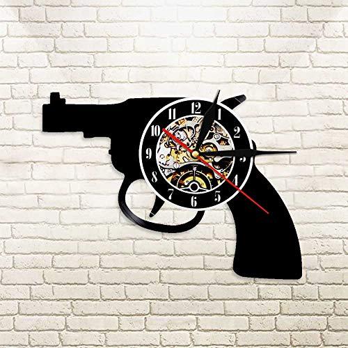 FDGFDG Gun Multi LED Nachtlicht Revolver Vinyl LP Schallplatte Wanduhr Uhr Schwarz Hängende Uhr Wanduhr