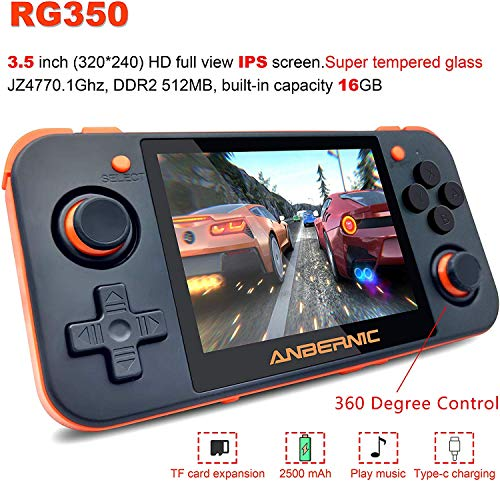 RG350M Handheld Game Console with Opening Linux Tony System ,HDMI Output, 64Bit 3.5inch IPS Screen , Retro Game Console with 32G TF Card Built in 2500 Classic Games Portable Video Game Console